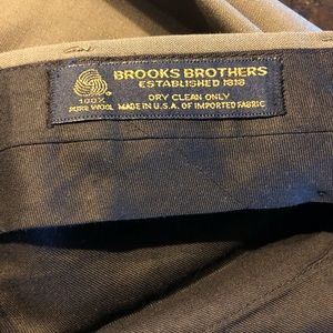 Brooks Brothers Olive Green Worsted Wool Pants 35